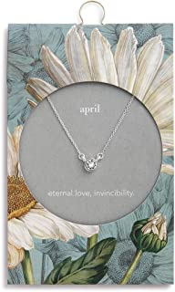 DEMDACO Silver Round Women's Austrian Crystal Silver-Plated Simply Birthstone Necklace