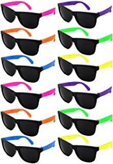 Edge I-Wear 12 Pack 80's Style Neon Party Sunglasses Adult/Kid Size with CPSIA certified-Lead(Pb) Content Free