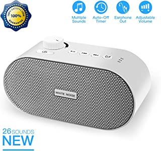White Noise Machine, Portable Sleep Sound Therapy Machine with 26 Non-looping Soothing Sounds, USB Output Charger, Travel Sleep Auto-Off Timer for Baby Kids Adults (White)