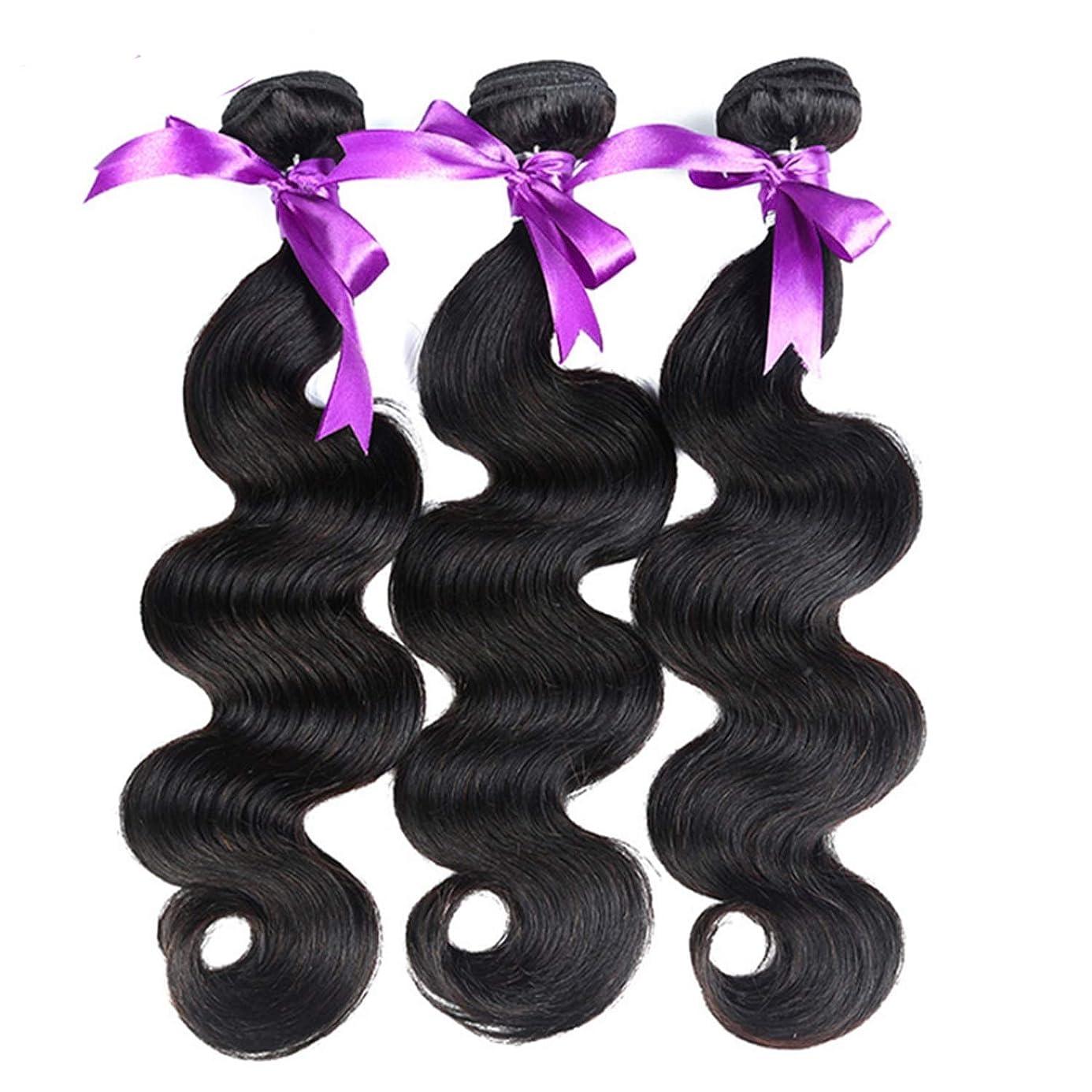 中国許容できる救い髪マレーシア実体波髪3個人間の髪の束非レミーの毛延長8-28インチの体毛かつら (Length : 8 8 10)