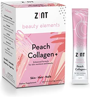 Zint Sweet Marine Collagen Powder Beauty Drink Mix (Peach): Sugar-Free Collagen Peptides Drink w/Glucosamine, Hyaluronic Acid, Vitamin C, Acai Extract (30 5g Packets)