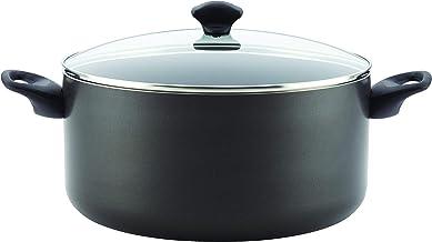Farberware 16716 Dishwasher Safe Nonstick Aluminum Covered Stockpot, Black 10.5-Quart, Large,