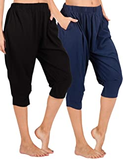 Women Cotton Capri Pajama Pants Cropped Lounge Pants with Pockets Harem Pants