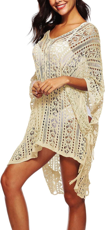 Flygo Womens Summer Swimsuit Bikini Beach Swimwear Cover up Crochet Tunic Dress