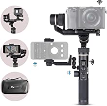 Feiyu G6 Plus Kit 3-Axis Splash-Proof Stabilizer Gimbal with Mini Tripod Phone Clip Kit WiFi Connection for Sony Mirrorless Camera a6500 a6400 Sony RX100, iPhone, Samsung, GoPro Hero 7 6, Sony RX0