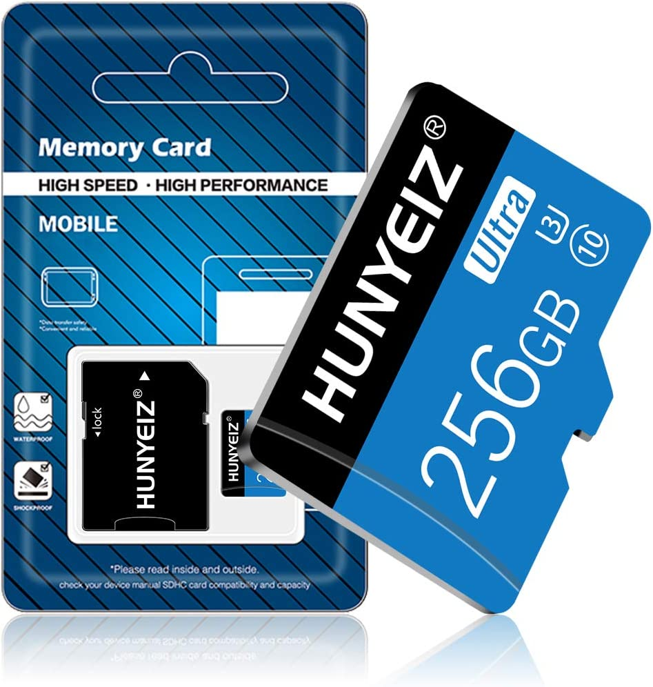 256GB Micro SD Card with Adapter (Class 10 High Speed), Memory Cards for Camera, TF Memory Card for Phone Computer Game Console, Dash Cam, Camcorder, GPS, Surveillance, E-Reader, Drone