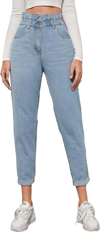 Floerns Women's High Waisted Ruffle Trim Paper Bag Denim Jeans