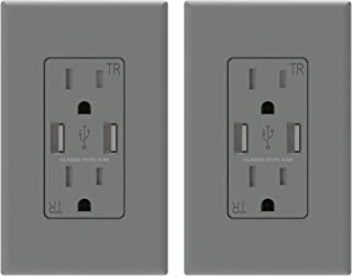 (2 Pack, Grey) ELEGRP USB Outlet Wall Charger, Dual High Speed 4.0 Amp USB Ports with Smart Chip, 15 Amp Duplex Tamper Resistant Receptacle Plug NEMA 5-15R, Wall Plate Included, UL Listed