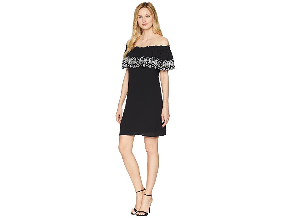 CeCe Tenley Off the Shoulder Embroidered Dress (Rich Black) Women