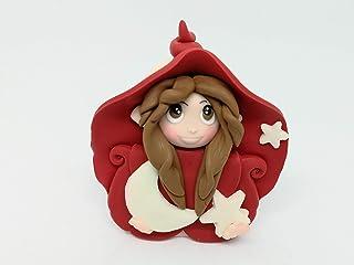 Folletta Gnomo elfo DOLCE NOTTE rossa idea regalo Handmade personalizzabile con il nome. SI ILLUMINA AL BUIO. Made in Ital...