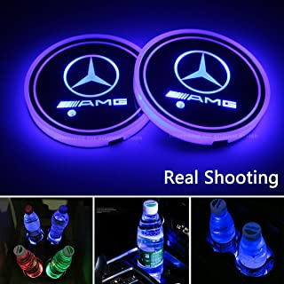 2pcs LED Car Cup Holder Lights for Mercedes Benz AMG, 7 Colors Changing USB Charging Mat Luminescent Cup Pad, LED Interior Atmosphere Lamp