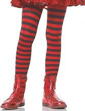 Leg Avenue's Children's Striped Tights, Black/Red, Medium