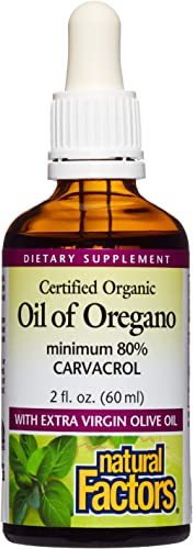 Natural Factors, Certified Organic Oil of Oregano, Herbal Supplement for Immune Support, Vegan, Non-GMO, 2 oz (375 servings) product image