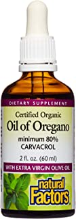 Natural Factors, Certified Organic Oil of Oregano, Herbal Supplement for Immune Support, Vegan, Non-GMO, 2 Fl Oz (Pack of ...