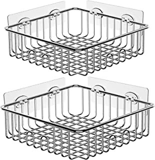 SMARTAKE 2-Pack Shower Caddy, Stainless Steel Adhesive Bathroom Shelf with Hooks, Wall Mounted Rack Storage Organizers for Dorm, Bathroom, Toilet and Kitchen, Square