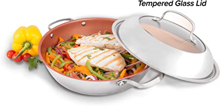"""NuWave Model 31124 Stainless Steel Ceramic BBQ Grill Pan (11"""" Diameter) with Duralon Healthy Ceramic Non-Stick Coating, Stainless-Steel and Tempered Glass Dome Lid, and Ridges for Great Grill Marks"""