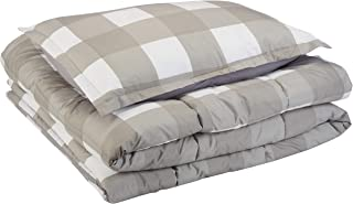 Amazon Basics Comforter Set, Twin / Twin XL, Dark Grey Oversized Gingham, Microfiber, Ultra-Soft