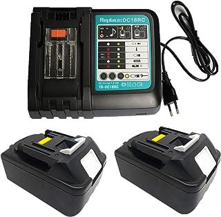 Cargador de repuesto con 2 baterías de 18 V 4,0 Ah para cortacésped Makita IAM 40-4625S DLM380Z DLM431Z ELM3800 cortacésped eléctrico DLM431PT2 DLM 431 PF2 PLM4120N DLM431PF2