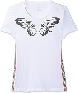 adidas Women's W FARM PRINT T-Shirt, White/Black, X-Small, 4-6