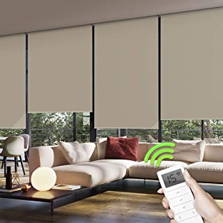 Yoolax Motorized Window Roller Shades Blinds Wireless Remote Control Blackout Fabric Shades for Home and Office Customized (Coffee)