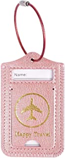 MOSISO Luggage Tag, Premium PU Leather Anti-Lost Travel Suitcase Label Card Cover Private Name Identifier Holder with Stainless Steel Cable Loop for School Bags/Gym Bags, 2 Pack, Rose Gold