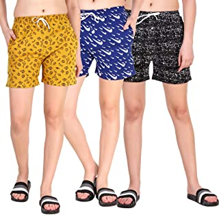 Kiba Retail Casual Wear Cotton Check/Printed Shorts for Women's and Girl's Pack of 3 (Size-26, 28, 30, 32, 34) Color-Multicolor