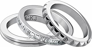 Calvin Klein Astound Stainless Steel and White Cubic Zirconia Ring Set