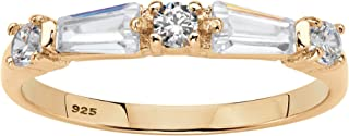 14K Yellow Gold over Sterling Silver Round Cubic Zirconia Baguette Wedding Band Ring