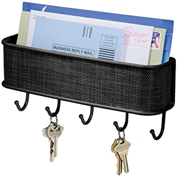 "iDesign Twillo Steel Wall Mount Mail and Key Rack - 10.5"" x 2.5"" x 4.5"", Matte Black"