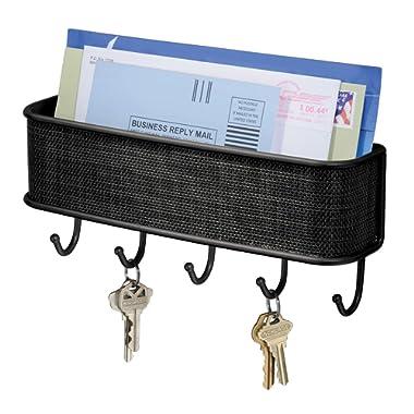 iDesign Twillo Steel Wall Mount Mail and Key Rack - 10.5  x 2.5  x 4.5 , Matte Black