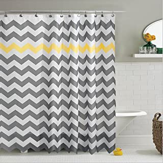 Grey Fabric Shower Curtain Chevron Striped Bathroom Polyester Curtains Durable Waterproof Bath Sets Home Accessories Set, Water-Repellent 70.86x 70.86inches (Yellow and Grey)