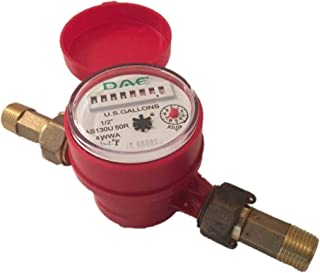 "DAE AS130U-50R 1/2"" Hot Water Meter, Measuring in Gallon + Couplings"