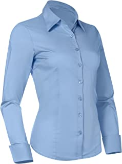Button Down Shirts for Women, Fitted Long Sleeve Tailored Shirt Blouse