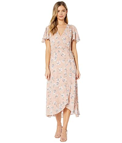 American Rose Rose Short Sleeve Floral Wrap Dress (Mauve) Women