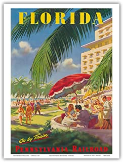 Florida - Go By Train - Pennsylvania Railroad - Vintage World Travel Poster c.1950s - Master Art Print - 9in x 12in