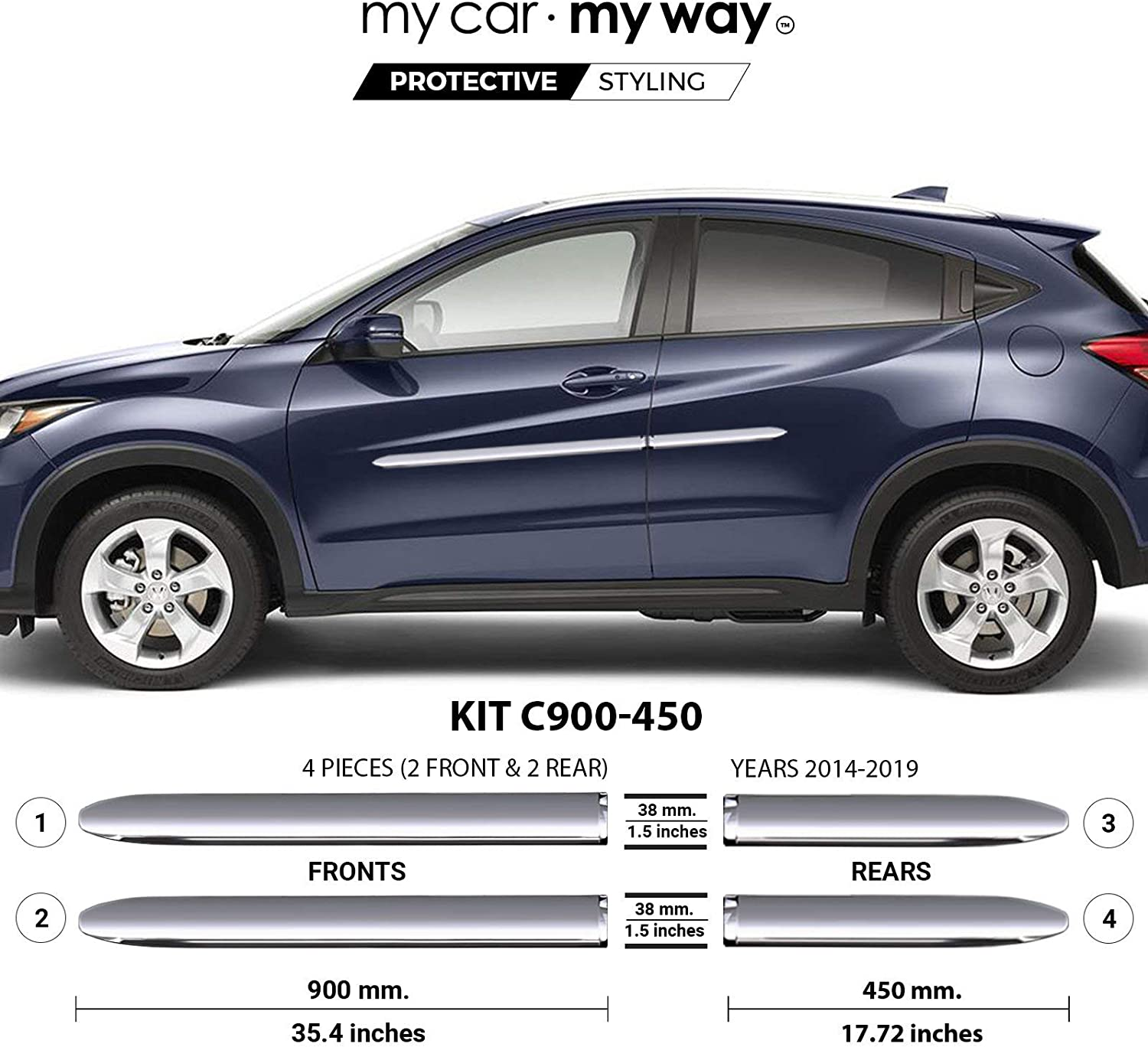 MY Excellent CAR WAY Chrome Body Side Molding 5% OFF Fits Door Trim Protector