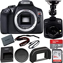 Canon EOS Rebel T6 DSLR Camera (Body Only) with Free Dash Cam Bundle: SanDisk Ultra 32GB microSDHC Memory Card + SanDisk Ultra 64GB SDXC Memory Card and More