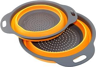 TedGem 2 Pack Collapsible Colanders Set,  Food-Grade Silicone kitchen Strainer Space-Saver Folding Strainer Colander, Dishwasher-Safe