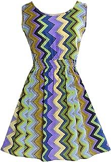 Women's Floral Print Chiffon Sleeveless Smocked Waist Dresses