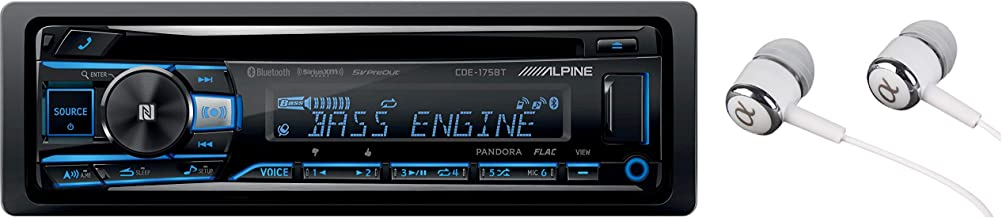 Alpine CDE-175BT Single DIN Bluetooth in-Dash CD Front USB & Auxiliary MP3 ID3 Tag AM/FM SiriusXM Ready Apple iPhone 6/6+ and iOS-8 Car Stereo Receiver, HD Radio Built-in/Free ALPHASONIK Earbuds