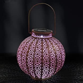 Solar Powered LED Morrocan Lantern Decor Hanging Outdoor Garden Lamp Waterproof