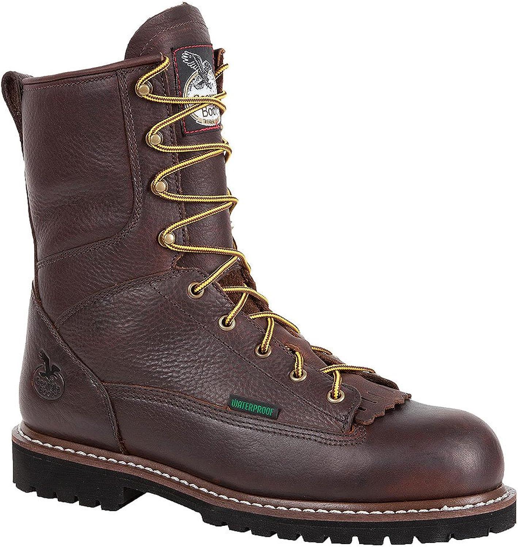 Georgia Men's 8  Waterproof Low Heel Steel Toe Logger Work Boot-G103 Dark Brown