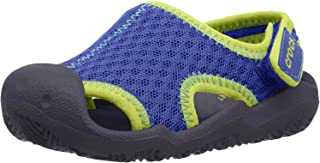 Crocs Kids' Swiftwater Sandal | Water Slip On Shoes Flat, blue jean/navy, 8 M US Toddler