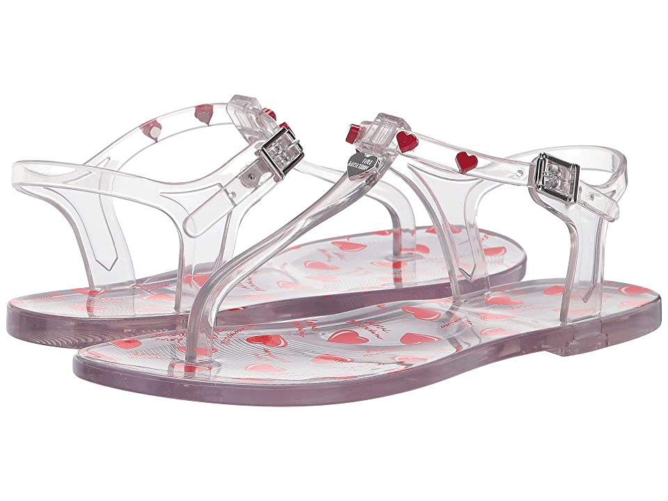 LOVE Moschino Transparent PVC Sandal with Heart Detailing (Transparent) Women