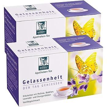 BADERs Apotheken Tee Gelassenheit. Kräutertee mit Lavendel, Baldrian und Melisse. Den Tag genießen, in der Nacht gut schlafen. 2 x 20 Filterbeutel. PZN 09738486