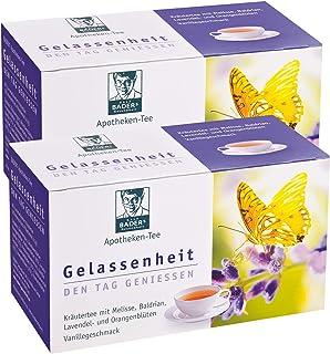 BADERs Apotheken-Tee Gelassenheit. Kräutertee mit Lavendel, Baldrian und Melisse. Den Tag genießen, in der Nacht gut schlafen. 2 x 20 Filterbeutel. PZN 09738486