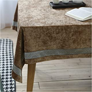Clean and organized Tablecloth Embroidered Solid Color Chinese Classical Cotton Linen Table Cloth (Color : Coffee, Size : 130180)