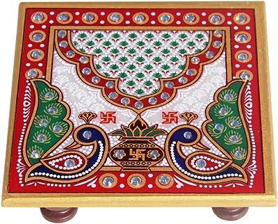 Handicrafts Paradise Marble Pooja Chowki (10.2 cm x 10.2 cm x 2.55 cm)