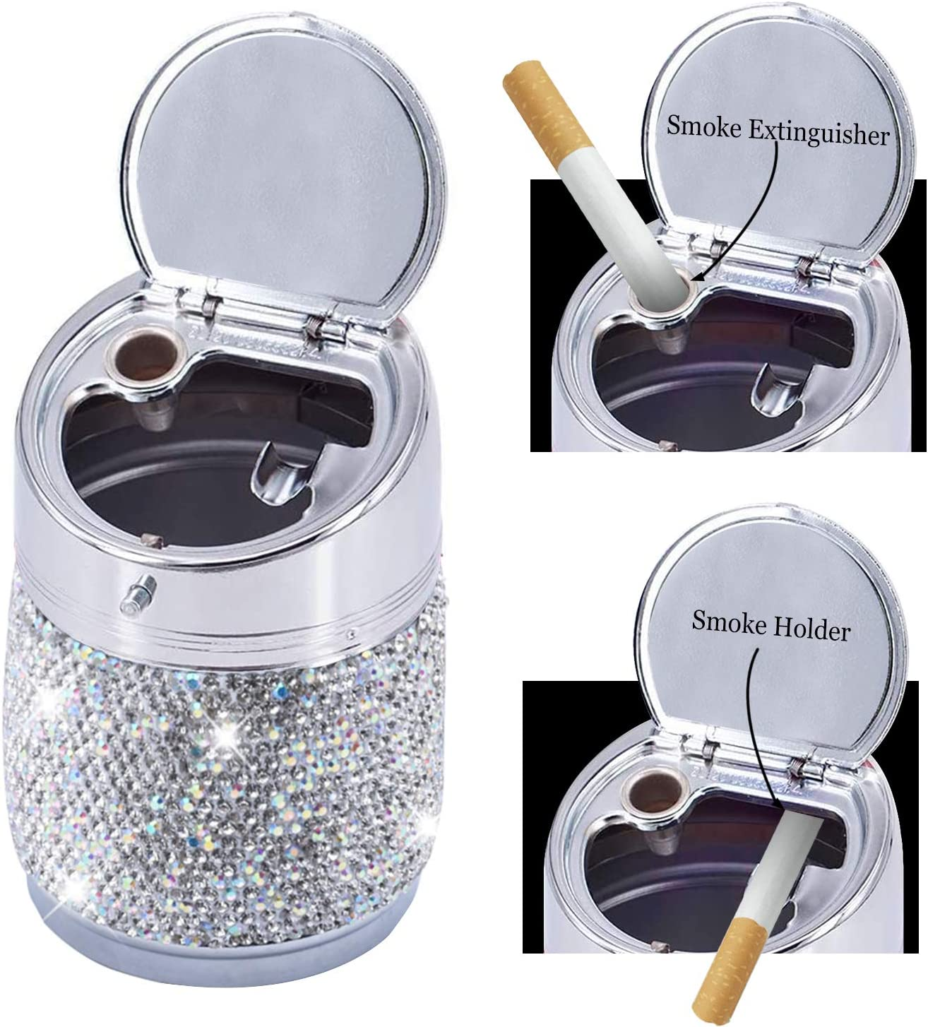 Bling Crystal Car Ashtray with Lid White Aluminum Alloy High Temperature Resistance Portable Stand Cylinder Cup Holders Darwenxy