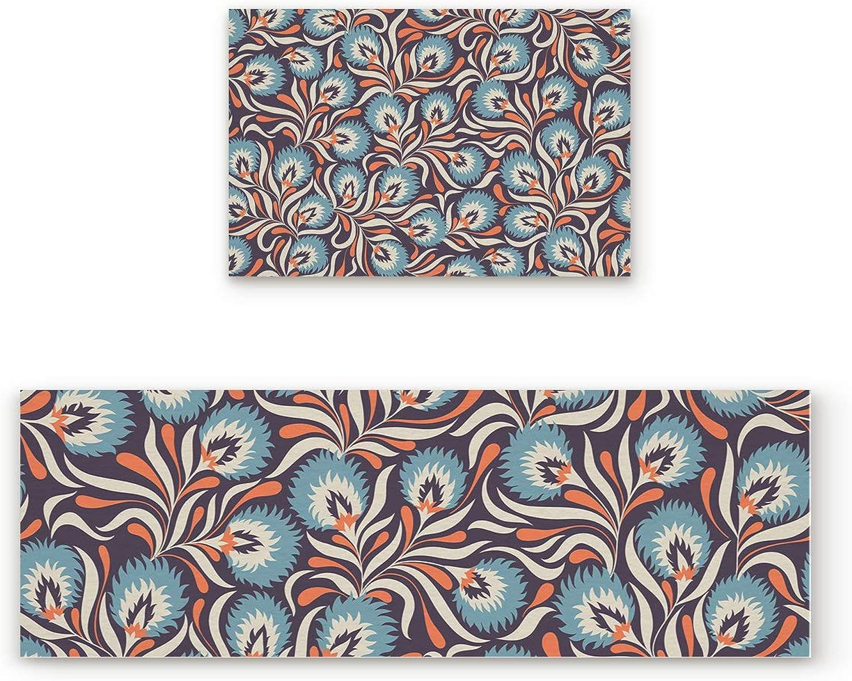 Libaoge Non-Skid Slip Rubber Backing Kitchen Mat Runner Area Rug Doormat Set, Paisley Doormats, Traditional Indian Pattern Carpet Indoor Floor Mats Door 2 Packs, 19.7 x31.5 +19.7 x47.2